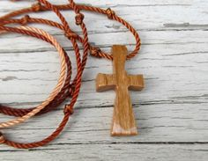 Wooden Cross Pendant  Handcrafted Cherry Hardwood by TheLotusShop, $16.95