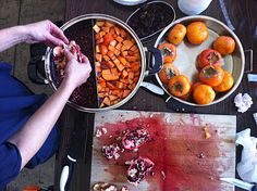 natural dyeing - perfect for northern California's fall when persimmons and pomegranates are in season.