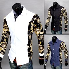 Men Slim Fit Casual Shirts Long Sleeve Floral Patchwork Printed Dress Shirt  #Unbranded