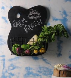 Fabuliv Wood & Metal Chalk Board Kitchen Shelf