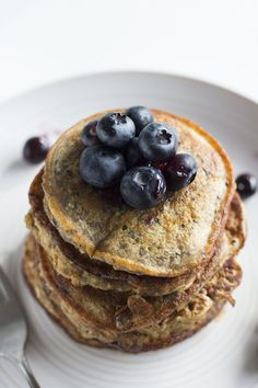 Blueberry Chia Seed Pancakes | A simple pancake recipe filled with chia seeds for added fiber!