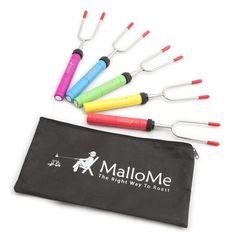 Marshmallow Roasting Sticks Skewers Hot Dog Fork Set Of 5 Camping Portable New #cookingsticks