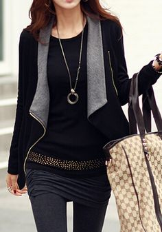 Black-Grey Plain Zipper Turndown Collar Long Sleeve Fashion Casual Cardigan Coat