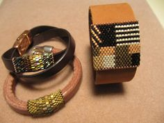 Unique handmade, hand stitched beaded bands on leather. NOt Junes Jewelry/Facebook for details