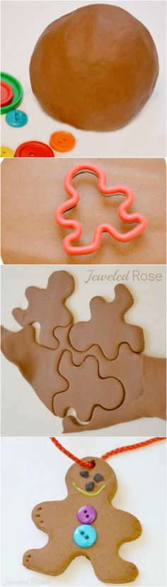 Make scented gingerbread ornaments with this easy to make gingerbread clay from Growing a Jeweled Rose