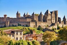 A UNESCO World Heritage walled city, Carcassonne is perched beautifully on a rocky hilltop in South-west of France Carcassonne France, Annecy France, Walled City, Cities In Europe, Beautiful Castles, Medieval Castle, France Travel, France Europe, Day Tours