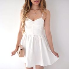 Gina White Lace-Up Sundress
