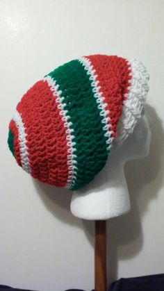 Red, White and Green Crochet Slouchy Beanie - Ready to Ship (B36-818) by NoreensCrochetShop on Etsy