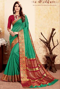 Buy latest collection of designer sarees including variety of sarees. Order this art silk sea green designer traditional saree for casual, festival and mehndi. Art Silk Sarees, Banarasi Sarees, Fancy Sarees, Party Wear Sarees, Indian Dresses, Indian Outfits, Pakistani Dresses, Casual Art, Stylish Sarees