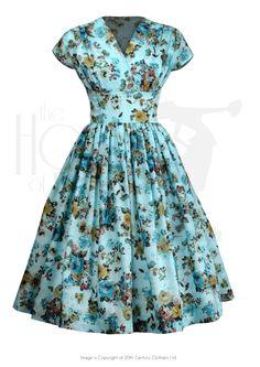 1950s Style Rosalee Swing Skirt Dress in Aqua Blossom Size 12