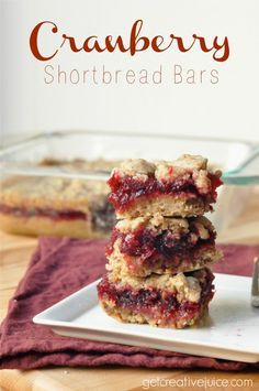 Cranberry Shortbread Bars Recipe - easy, sweet & tart!