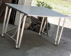 Mid Century Retro Metal Gray Pattern Laminate Top Table Desk Hairpin Legs by gremlina on Etsy