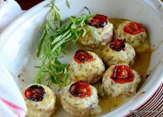 Mushrooms filled with St. Moret cheese