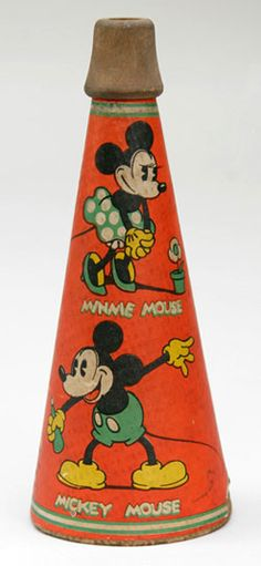 Vintage Mickey and Minnie Mouse noisemaker, marked Walt E. Disney, Marks Bros. Wooden mouthpiece, great litho label.
