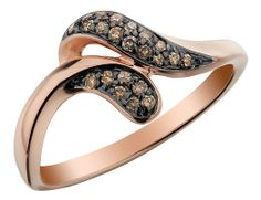 Champagne Diamond Ring 1/6 Carat (ctw) in 10K Rose Pink Gold