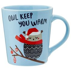 """Our bright holiday mug is generously sized and has a gently tapered shape that feels good in your hand, just like a warm hug. An affectionate owl sporting a Fair Isle sweater is always ready to offer up some love. 16-oz./473ml capacity. 4"""" diameter, 4.5"""" tall. Stoneware. Dishwasher- and microwave-safe. Available only at Indigo."""