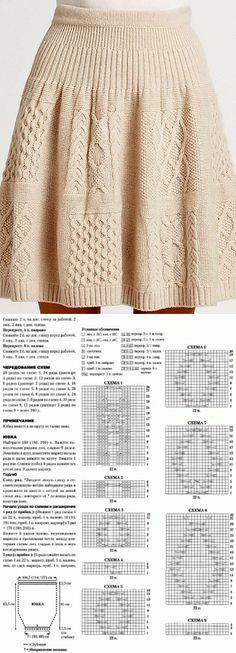 Knitting Patterns Skirt Knitting skirt scheme: Diary of the 'Knitting by the description' group … Cable Knitting Patterns, Knitting Stitches, Free Knitting, Knitting Room, How To Make Clothes, How To Purl Knit, Knitting Accessories, Knit Skirt, Knit Fashion
