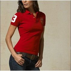 Ralph Lauren Blue Polo Logo Breathable Dark Red Short Sleeved