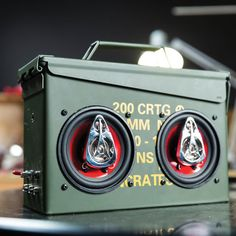 "Build a DIY ammo can bluetooth stereo with the Ammo Can Speaker Set. Ten out of ten neighbors agree it's the best way to ""make music"" in the garage."