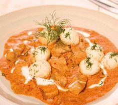 Harcsapaprikás kapros túrógombóccal Recept képpel - Mindmegette.hu - Receptek Thai Red Curry, Seafood, Lunch, Ethnic Recipes, Main Courses, Sea Food, Main Course Dishes, Entrees, Eat Lunch
