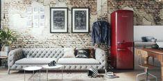 Retro Refrigerator, Retro Fridge, Wine Shelves, Glass Shelves, Farmhouse Furniture, Kitchen Furniture, Furniture Nyc, Furniture Companies, Living Room Ideas