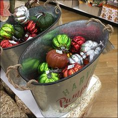 If you think this Harvest Pumpkin Galvanized-Bucket Prop Merchandising is a single item, see that all miniature pumpkins are tagged and labeled for sale.