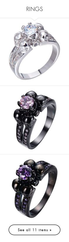 """""""RINGS"""" by adorablequeen ❤ liked on Polyvore featuring jewelry, rings, vintage sapphire rings, crystal rings, vintage sterling silver jewelry, sterling silver rings, wedding rings, yellow gold diamond rings, skull engagement ring and gold skull ring"""