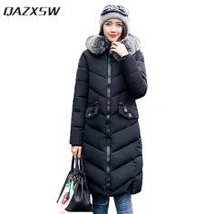 QAZXSW Women Winter Cotton Jackets Woman Warm Outwear Fur Collar Hooded Long Parkas Thick Overcoat Unicorn Abrigos Mejur HB008 #Affiliate