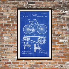 Blueprint Art of Patent Bicycle 1890 Technical Drawings Engineering Drawings Patent Blue Print Art Item 0025 by BigBlueCanoe on Etsy https://www.etsy.com/listing/216816415/blueprint-art-of-patent-bicycle-1890