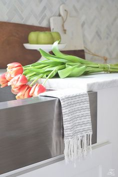Give me all the Tassels & Fringe Fringe home decor accessories white modern farmhouse kitchen stainless farmhouse sink carrara marble countertops and bac. Home Decor Accessories, Decorative Accessories, Stainless Farmhouse Sink, Modern Farmhouse Kitchens, Carrara Marble, Marble Countertops, Decoration, Tassels, Give It To Me