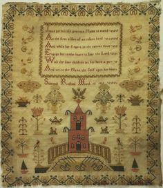 Early 19th century linen and silk work sampler by Susannah Rudland - 1839. This sampler is just stunning with fine quality stitch work throughout. The upper section of the linen is stitched with a central plaque containing the following verse. | eBay!