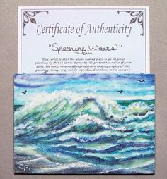 Original ACEO Ocean Waves Beach Seascape Miniature Watercolor Reinecke COA #Miniature
