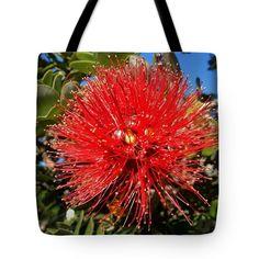 Tote Bags - Red Lehua Tote Bag by Pamela Walton