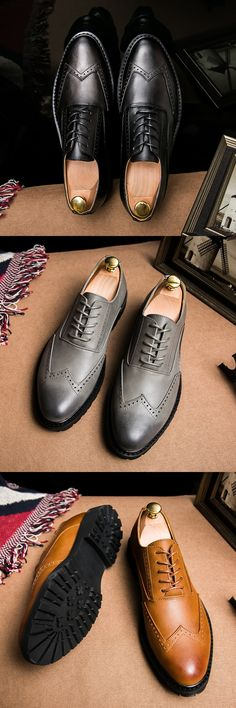Swag Retro Plus Size Vintage Leather Men'S Shoes Business Formal Brogue Pointed Toe Carved Oxfords Vintage Wedding Dress Shoes