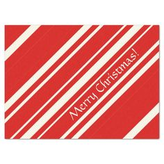 Christmas Red White Candy Cane Stripe Tissue Paper #christmas #giftwrap #xmas #wrappingpaper #tissuepaper