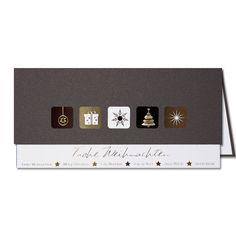 Wunderschön wirkt diese braune #Weihnachtskarte aus glänzendem Papier mit Weihnachtsmotiven auf Folienprägung. Usb Flash Drive, Paper, Christmas, Usb Drive