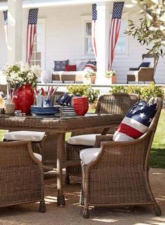 red, white  blue porch dining....