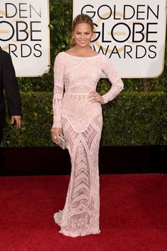 Chrissy Teigen in Zuhair Murad at the 2015 Golden Globes