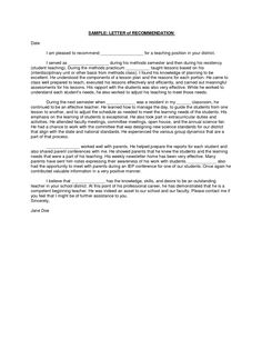 Reference Letter Of Recommendation Sample  Letter Of