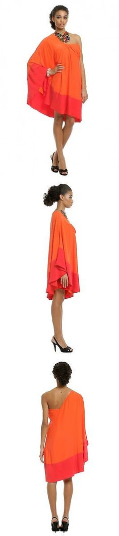 Beyonce Dresses: $1100 Chris Benz Silk Draped Designer Beyonce Holiday Glam Orange Red Dress Sz 4 BUY IT NOW ONLY: $89.99