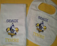 Geaux Tigers Bib and Burp Cloth Combo  LSU by TheEmbroideryPalace, $22.00