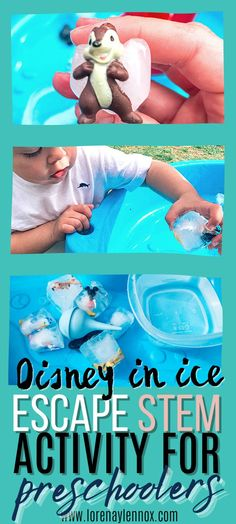 Disney In Ice Escape Water Table Activity for Toddlers  In this activity, your toddler will learn the science of ice and how warm water will melt the ice. If you have an impatient toddler like myself, he will try lots of methods to break his Disney friends out as quick as possible. #stempreschoolactivities #finemotoractivitiesforkids #finemotoractivities #sensoryactivities #stemactivities #stemactivitiesfortoddlers #watertableactivities Table Activities For Toddlers, Toddler Fine Motor Activities, Toddler Preschool, Learning Activities, Preschool Activities, Parenting Toddlers, Parenting Tips, Sensory Table, Play Based Learning