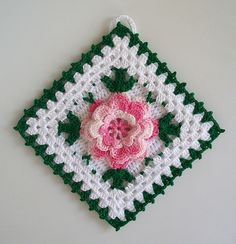 Crochet Rose Granny Square | Crochet Potholder in Thread with Rose Flower in Shaded Pink --- New in ...