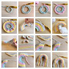 Yep it's time again for a new free crochetpattern! How about some cute mini rainbowhangers? Chat Crochet, Crochet Home, Crochet Crafts, Crochet Dolls, Crochet Yarn, Crochet Stitches, Crochet Projects, Free Crochet, Amigurumi Patterns