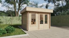 Mini Garden Office-2 9m2 / 44mm / 3 x 3 m – Summer House 24 -  garden space -  The Mini Garden Office 2 is one of our most affordable small garden buildings and has quality double glazed (tempered safety glass) doors and windows. One cabin window is fixed, while the other window is openable and equipped with a high quality German made tilt and turn system. This small wooden garden house also features 44mm wall thickness, 18mm floor and roof boards, strengthening metal rods in the walls and… Small Garden Buildings, Small Garden Office, Roof Boards, Modern Log Cabins, Safety Glass, Wooden Garden, Garden Spaces, Windows And Doors, Outdoor Gardens