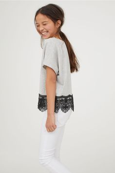 Jersey top with lace - Grey marl - Kids   H&M GB 2