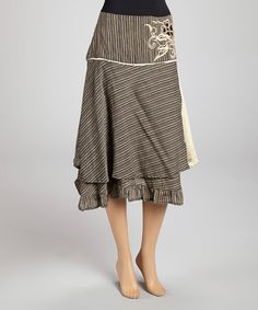 Take a look at this Natural Stripe Flower Skirt - Women by Jayli on #zulily today!