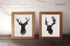 Deer head illustration Gray deer art Deer by ColorWatercolor