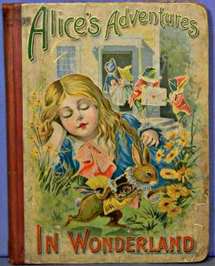 Alice's Adventure in Wonderland by Lewis Carroll vintage book cover