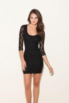 Dakota Three-Quarter Sleeve Lace Dress | GUESS.com